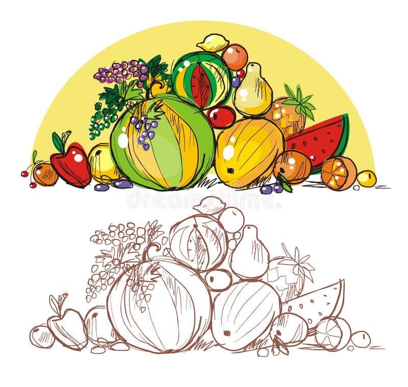 Download Heap of  fruit stock vector. Illustration of abundance - 20376267