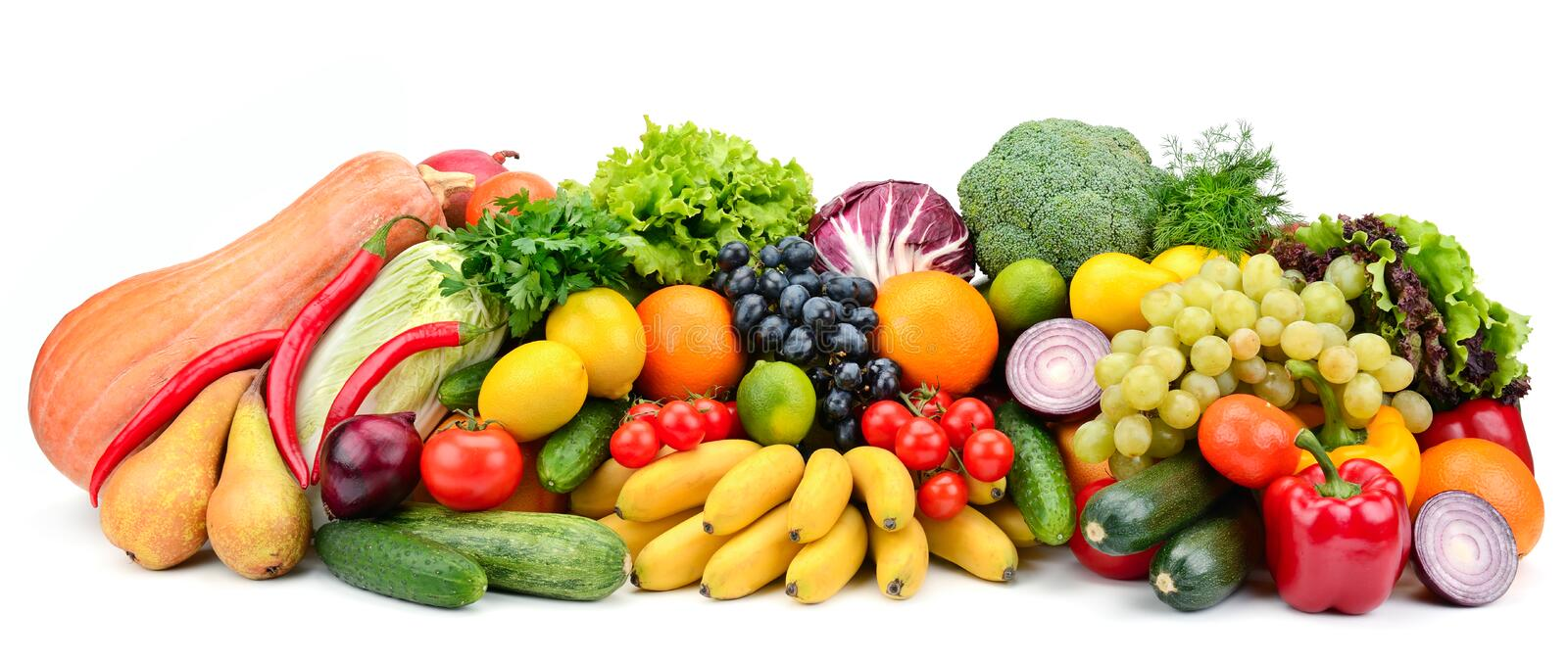 Heap fruit and vegetables isolated on white royalty free stock photos