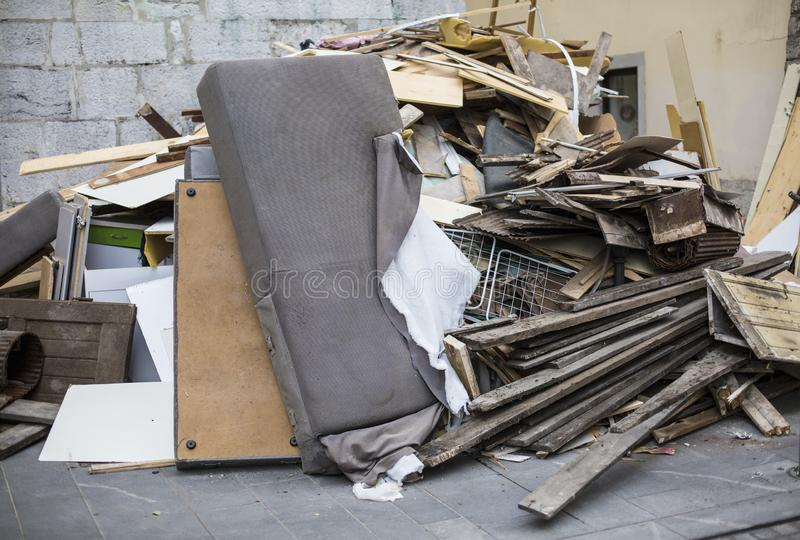 Heap of furniture waste royalty free stock image