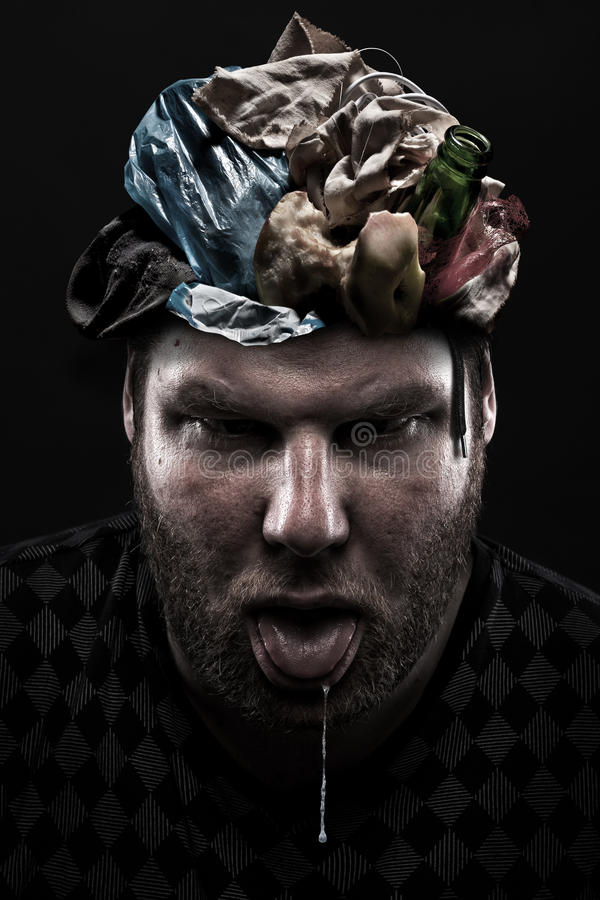 Heap of garbage inside silly man head. Ignorance concept. Heap of garbage inside silly man head royalty free illustration