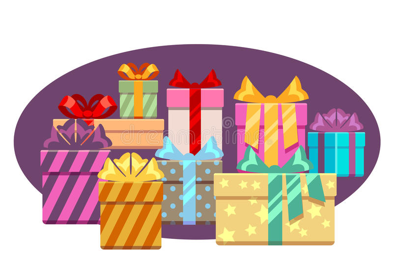 Heap of gift boxes with ribbon bows isolated over white stock illustration