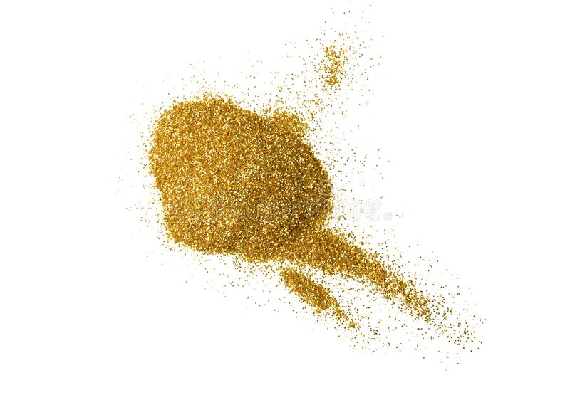 Heap of gold glitter on white background. Top view vector illustration