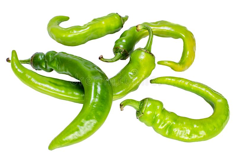 Heap of green hot pepper on white background. Heap of green hot pepper isolated on white background royalty free stock images