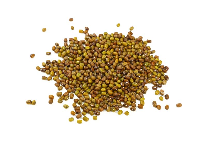 Heap of green mung beans isolated on white royalty free stock image