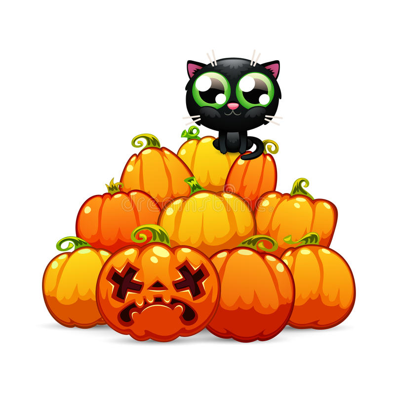 Heap of Halloween Pumpkins with a Black Cat on it. A Heap of Halloween Pumpkins with a Black Cat on it. on White Background. In the EPS file, each element is vector illustration