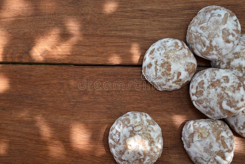Heap of honey-cake on wooden table. Russian spice-cakes with frosting with copy space for your text, top view. Heap of honey-cake on wooden table. Russian spice royalty free stock photography