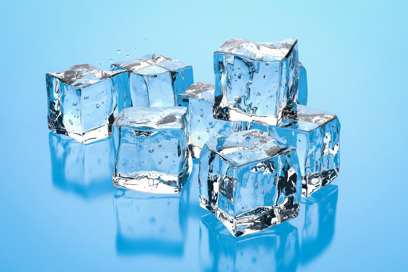 Heap of ice cubes. 3d rendering heap of ice cubes stock illustration