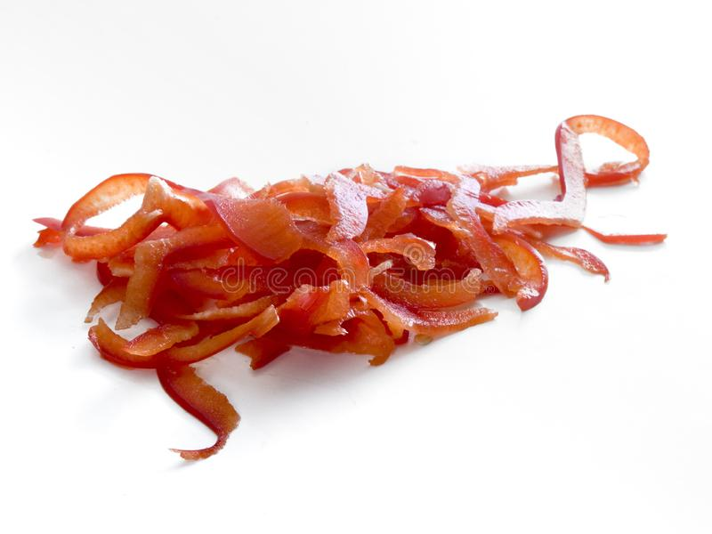 Heap of julienne cuts of a red bell pepper royalty free stock photo