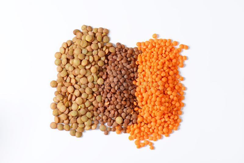Heap of lentils. On white background royalty free stock photos
