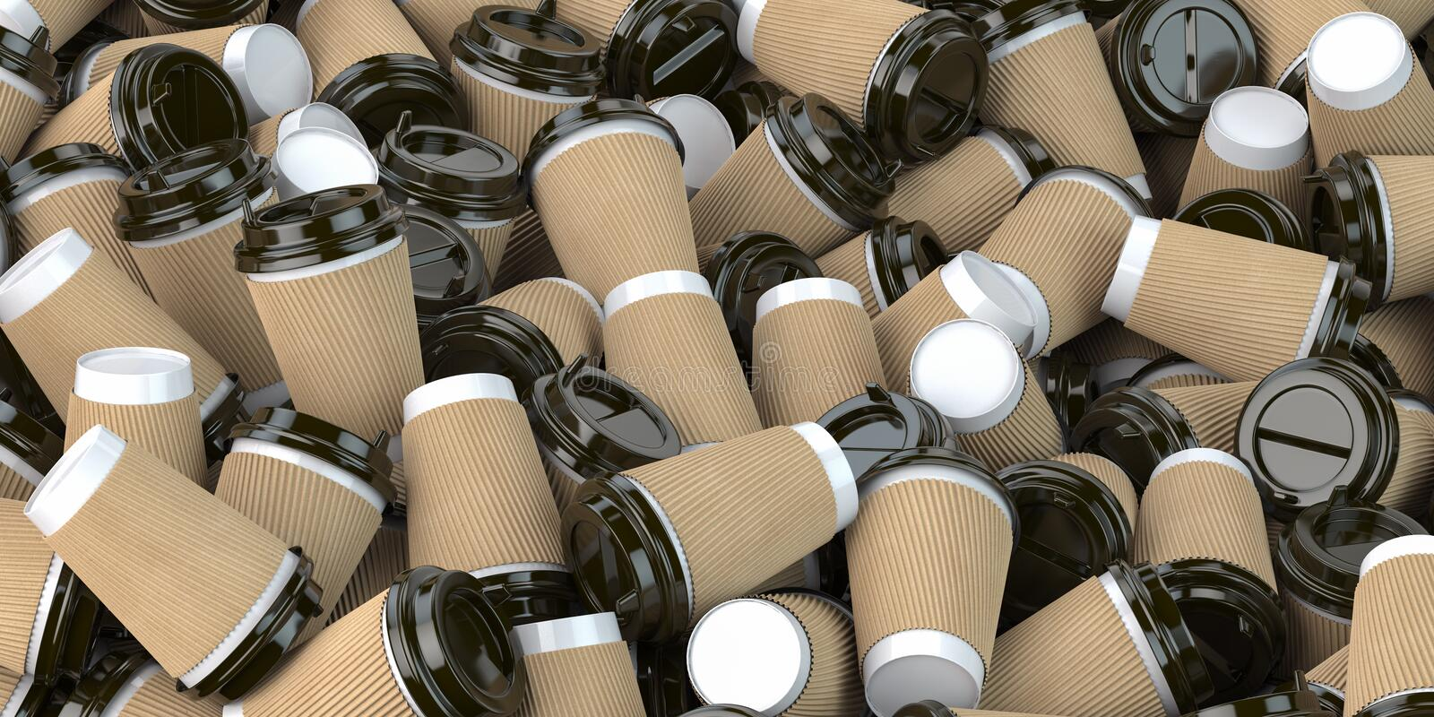 Heap of many empty paper coffee cups. Recycling of plastic waste concept stock illustration