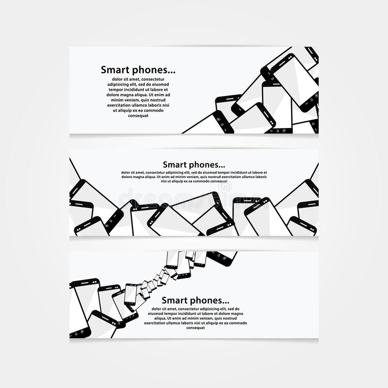 Heap of mobile phones. Banners for electronics trade company. Modern design background for big sale or giveaway. Clean banners with space for your text stock illustration