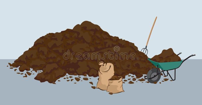 Heap of muck - manure. Heap of muck – manure. Organic fertilizer farming. Biodynamic agriculture stock illustration