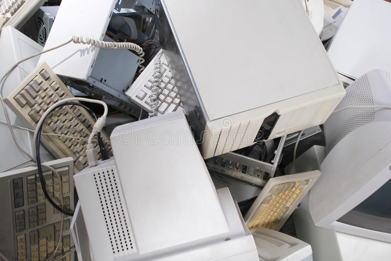 Heap of old computers. Case, computer, keyboard stock image