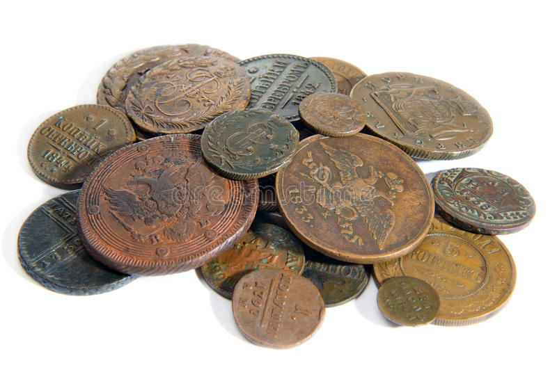 Heap Of Old Copper Coins Stock Photo