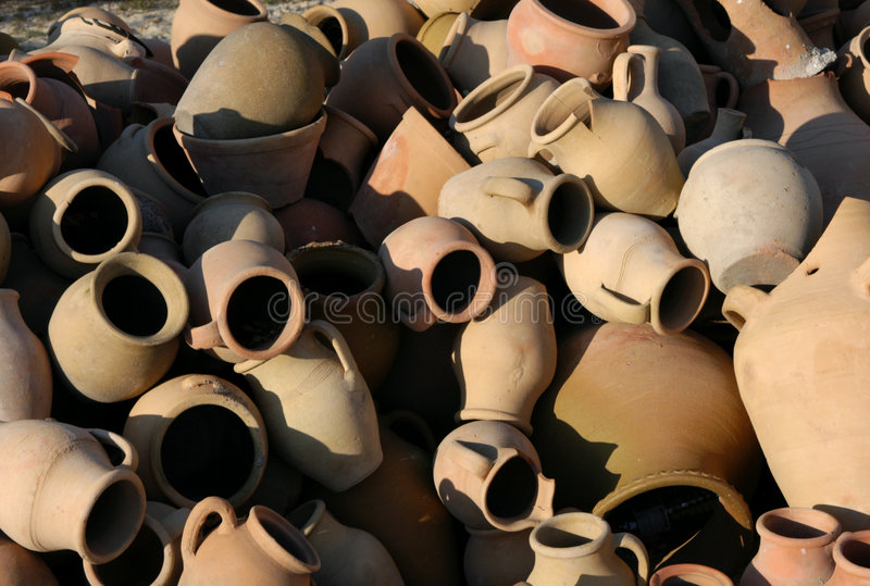 Heap of Old Pots stock photo