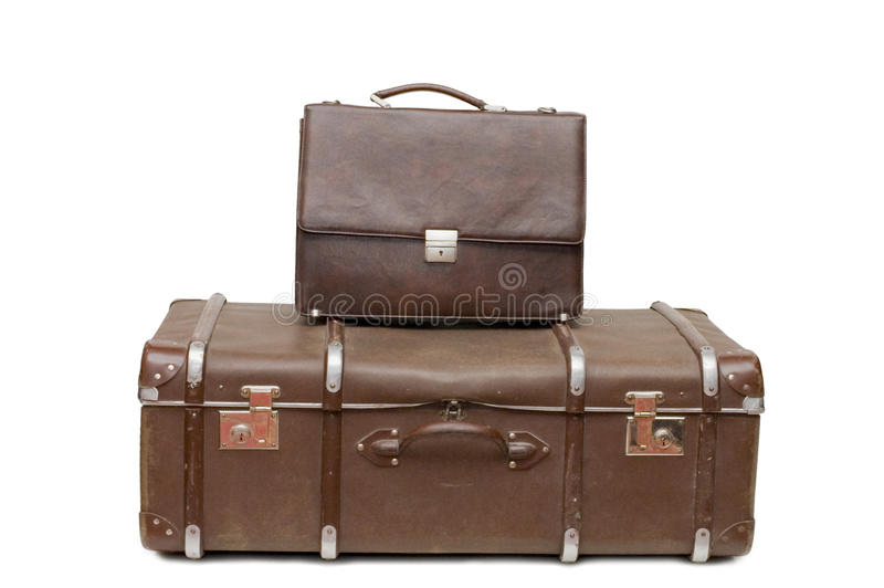 Download Heap Of Old Suitcases Isolated On White Royalty Free Stock Image - Image: 13338746