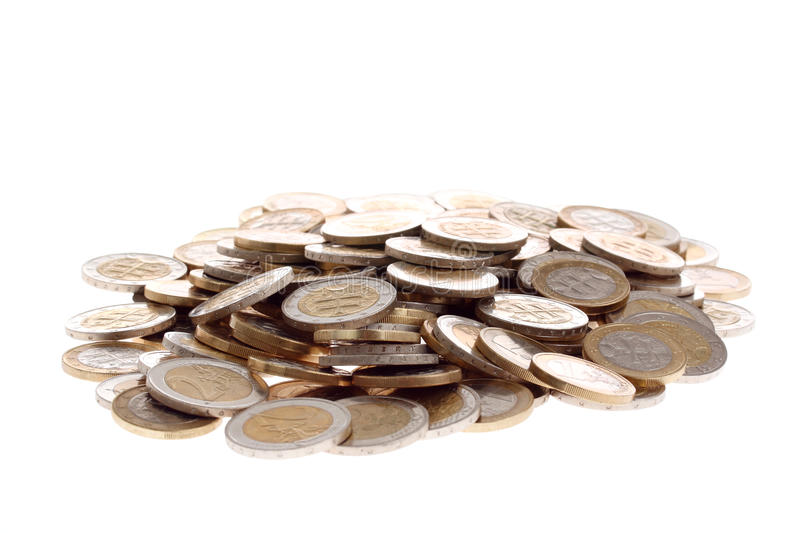 Download Heap Of One And Two Euro Coins Isolated On White Stock Photo - Image: 14834710