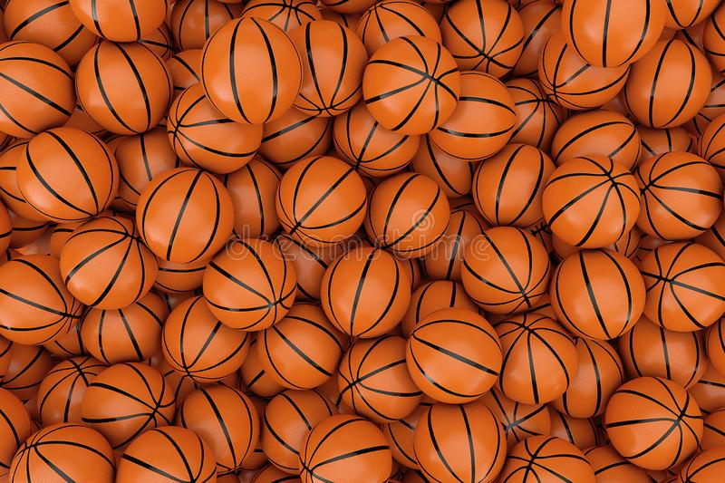 Heap of Orange Basketball Ball Background. 3d Rendering. Heap of Orange Basketball Ball Background extreme closeup. 3d Rendering royalty free illustration
