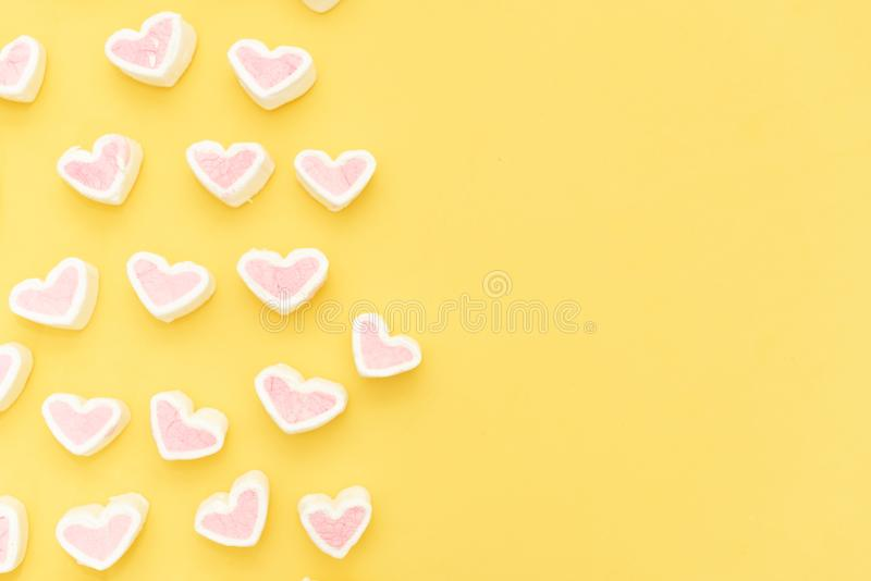 Hearts on yellow background royalty free stock images