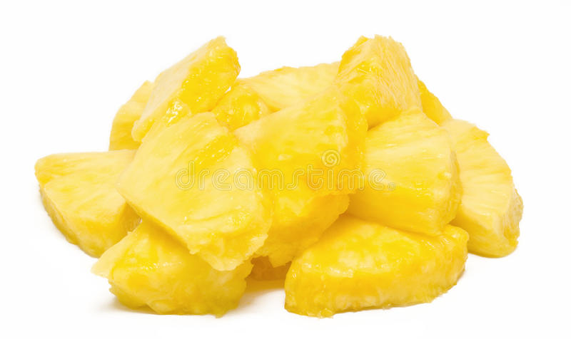 Heap of pineapple chunks isolated stock images