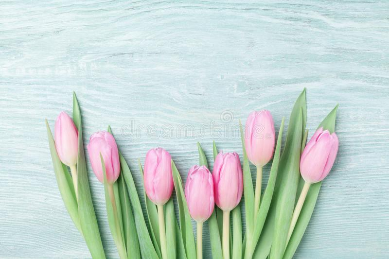 Heap of pink tulips for March 8, International Womans or Mothers day. Beautiful spring background. Top view. stock photography