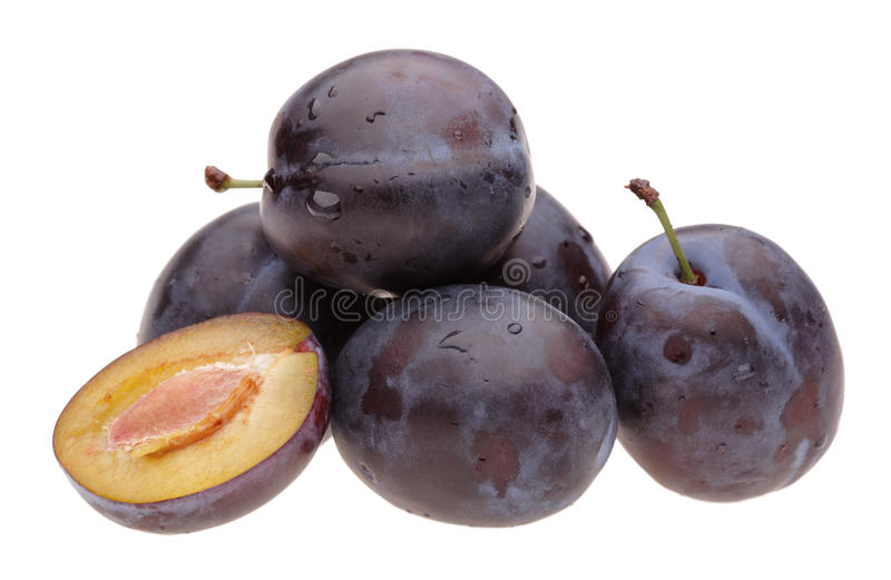 Heap plums. On white background