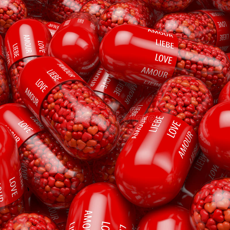 Heap, pool of red capsules, tablets, pills filled with heart shaped pills, pearls, medicine, with white printed label - love. Liebe, amour, amore - 3d stock illustration