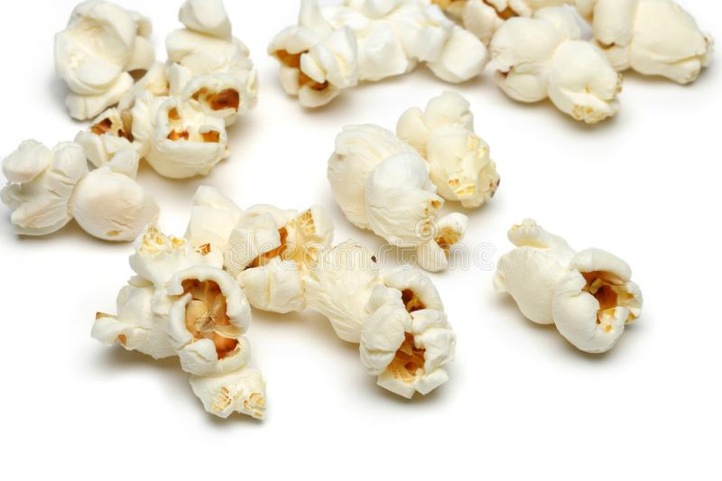 Heap of popcorn isolated on white. Background royalty free stock photos