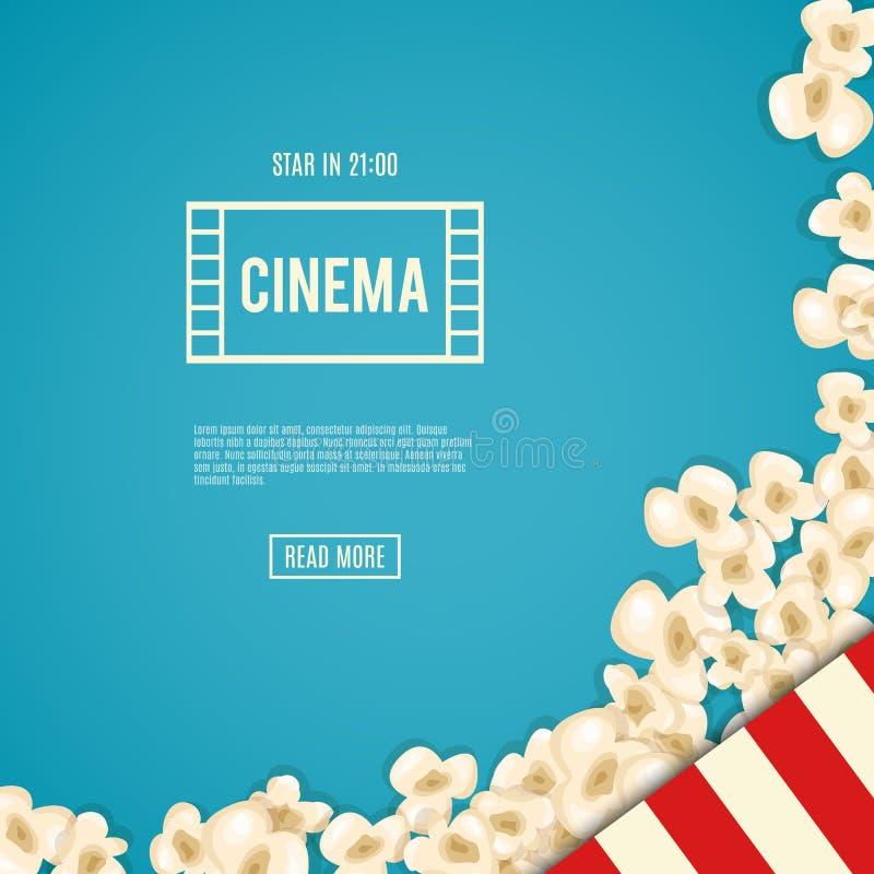 Heap popcorn for movie lies on blue background. Vector illustration for cinema design. Pop corn food pile . Border and frame for film poster flyer. Delicious vector illustration