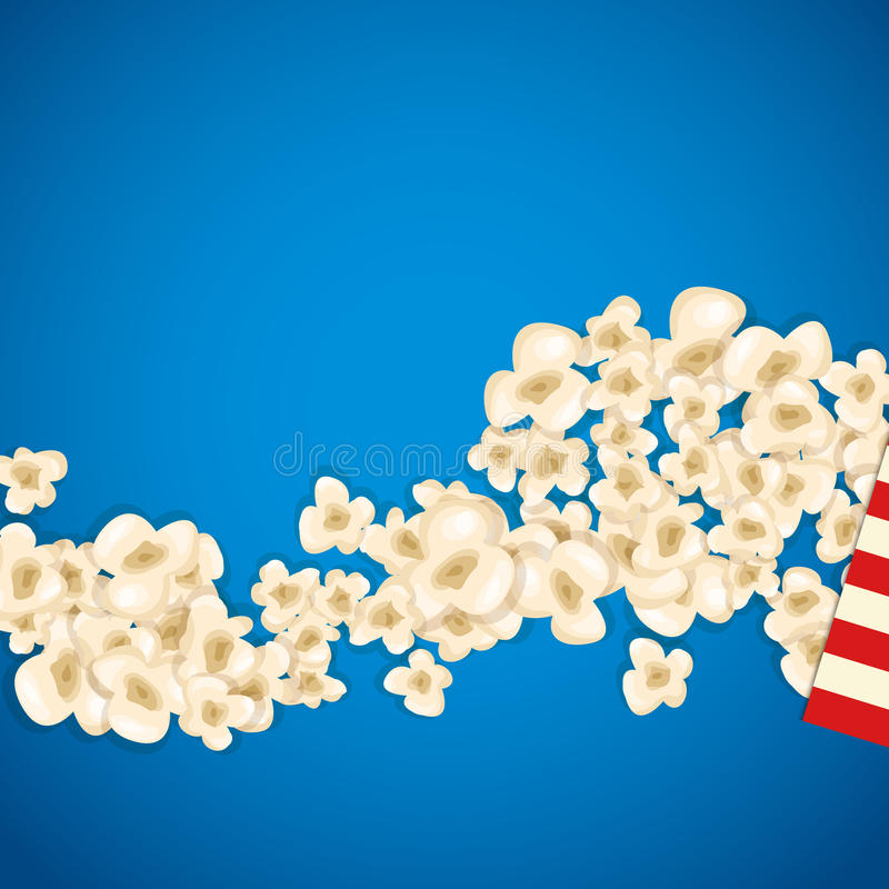 Heap popcorn for movie lies on blue background. Vector illustration for cinema design. Pop corn food pile . Border and frame for film poster flyer. Delicious royalty free illustration