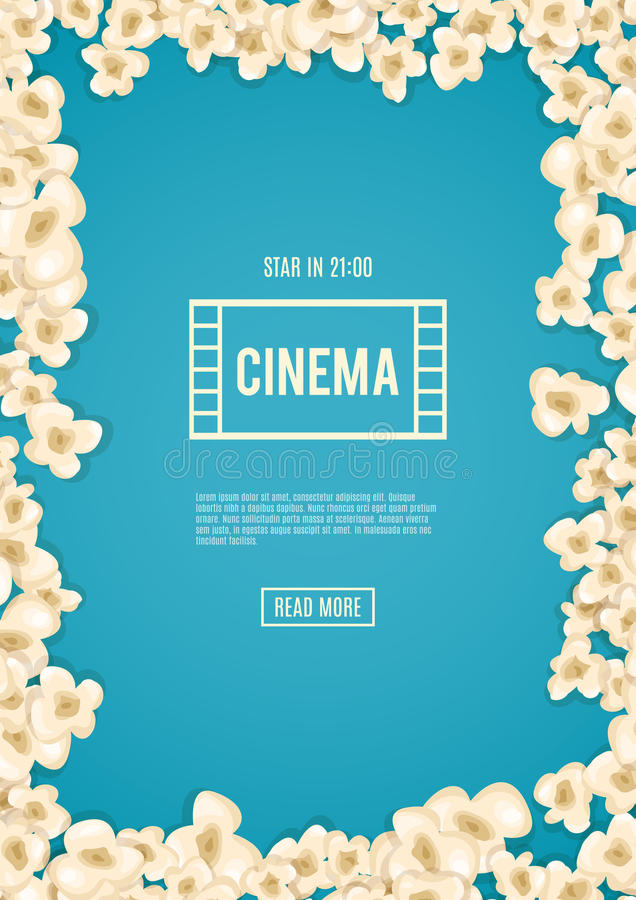 Heap popcorn for movie lies on blue background. Vector illustration cinema design. Pop corn food pile . Border and frame film poster flyer. Delicious theater royalty free illustration