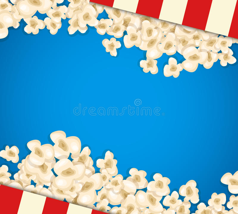 Heap popcorn for movie lies on blue background. Vector illustration for cinema design. Pop corn food pile isolated. Border and frame for film poster flyer vector illustration