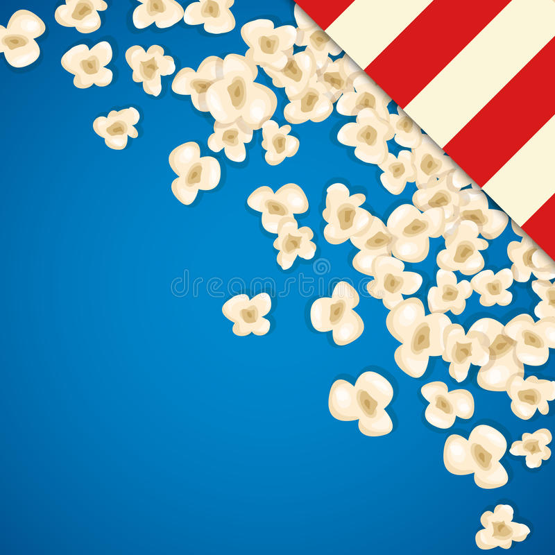 Heap popcorn for movie lies on blue background. Vector illustration for cinema design. Pop corn food pile isolated. Border and frame for film poster flyer stock illustration