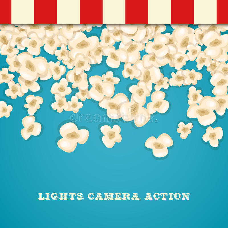 Heap popcorn for movie lies on blue background. royalty free illustration