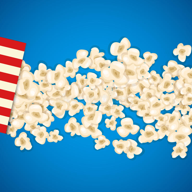 Heap popcorn for movie lies on blue background. Vector illustration cinema design. Pop corn food pile isolated. Border and frame film poster flyer. Delicious stock illustration