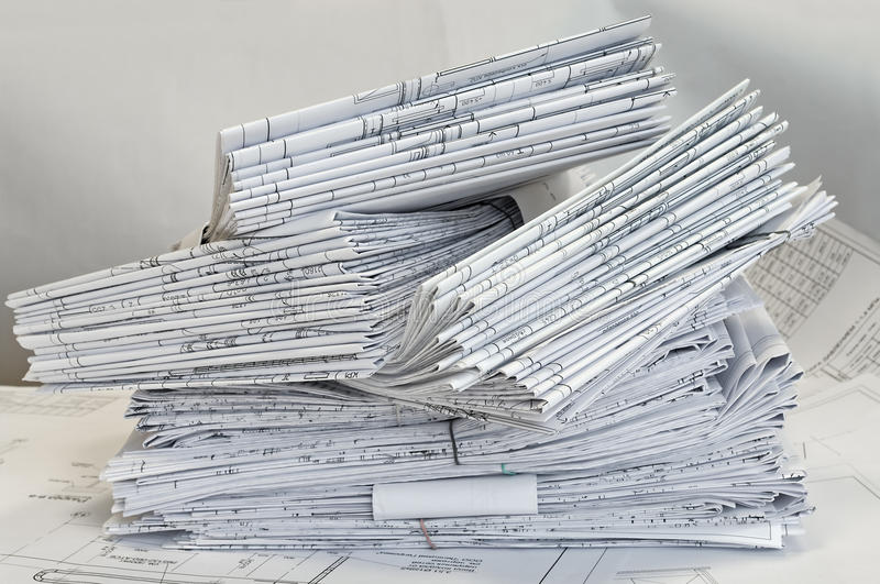 Heap of project drawings stock photo