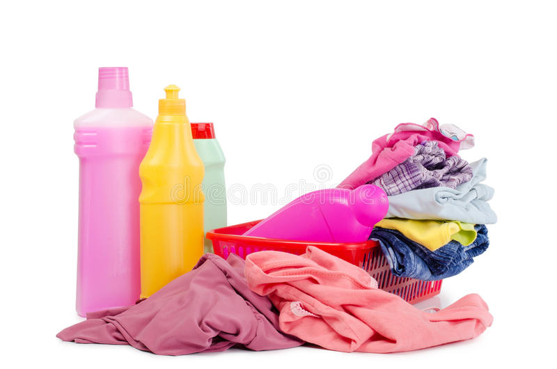 Heap of pure clothes with different detergent royalty free stock image