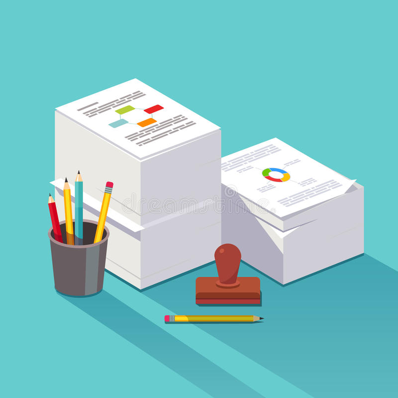 Heap of research documents stock illustration