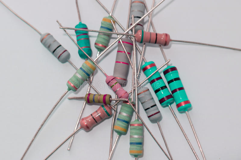 Heap resistors with different resistance, electronic radio components stock photography