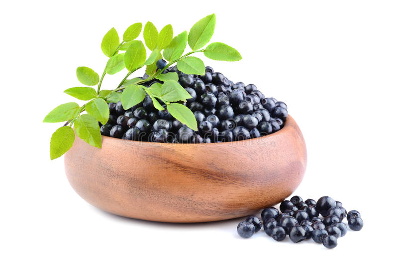 Heap of ripe bilberries. With green leaves in bamboo plate on white background royalty free stock photo