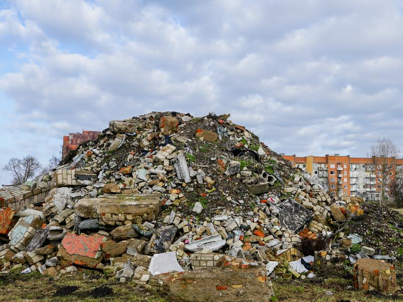 Heap of rubble after demolition of an old house stock photography