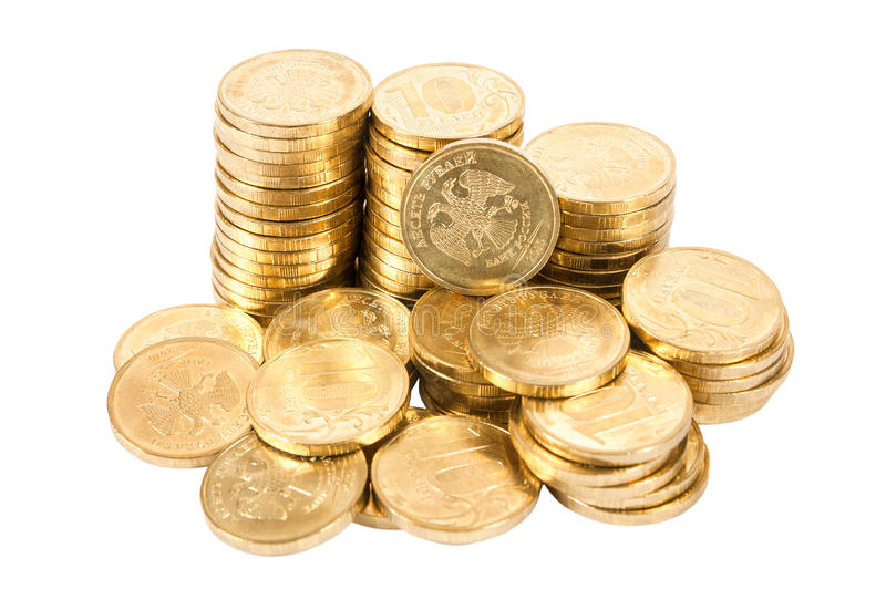 Heap of russian coins over white background