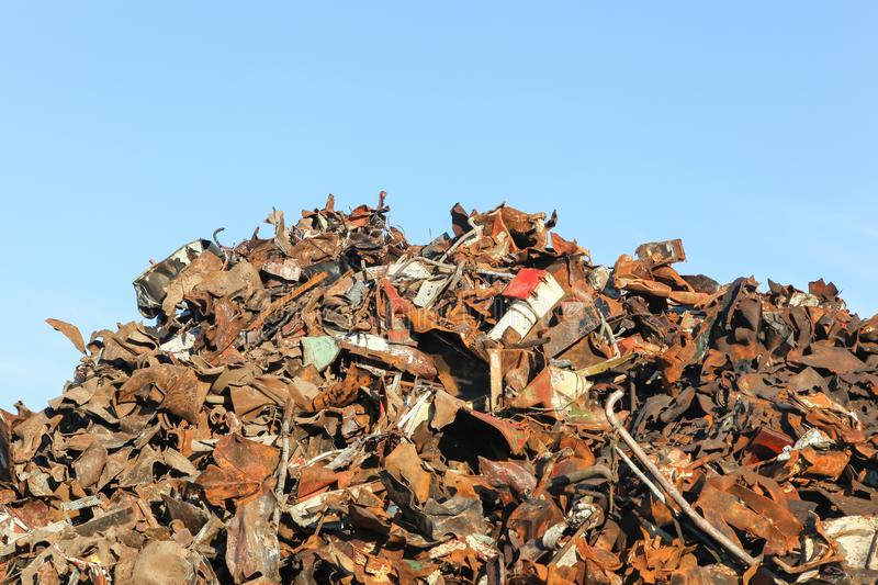 Heap of scrap metal ready for recycling stock images