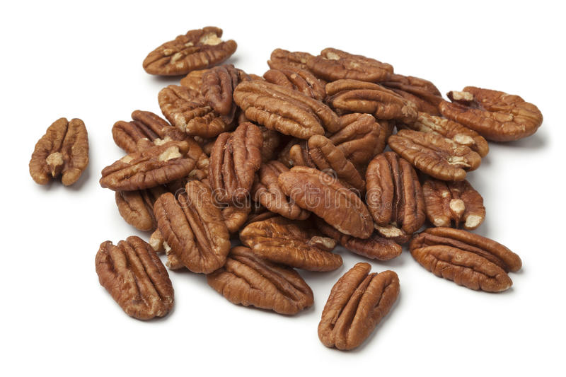Heap of shelled pecan nuts stock image