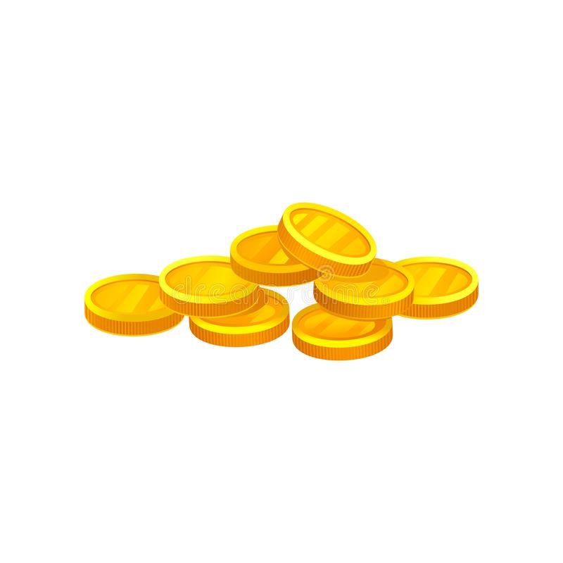 Heap of shiny golden coins. Investment and economy theme. Decorative flat vector element for banking mobile app, website. Heap of shiny golden coins isolated on stock illustration
