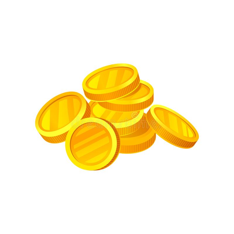 Heap of shiny golden coins. Money and finance theme. Flat vector design for advertising poster or mobile app. Heap of shiny golden coins. Money and finance theme royalty free illustration