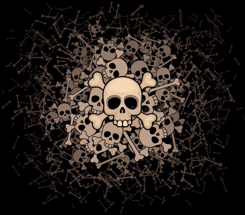 Heap of skulls and bones stock illustration