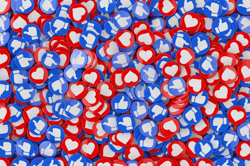 Heap of Social Media Network Love and Like Heart Badges Coins Background Texture. 3d Rendering vector illustration