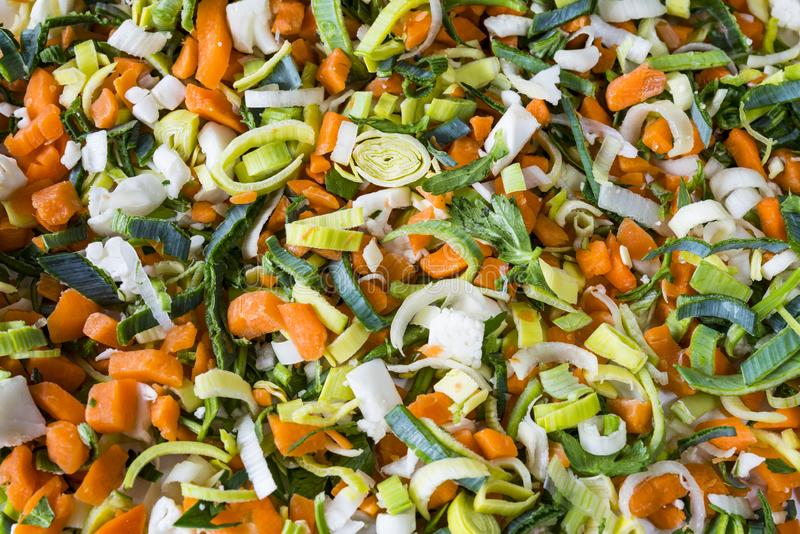 Heap soup vegetables, ingredients, for texture or  background. Flat lay soup or wok ingredients. vegetables, carrots, leek, celery stock image