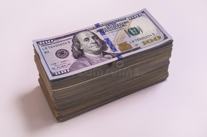 Heap, stack money. Hundred dollar bills front side. background of dollars, new hundred-dollar bil face, the evolution of the bill in one hundred dollars, fan stock photography
